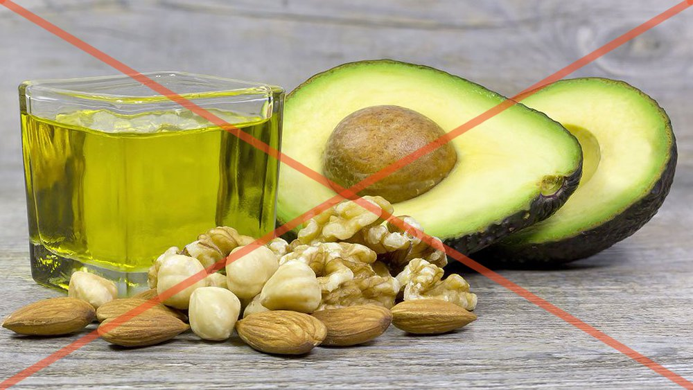 crossed out butter, avocado and nuts