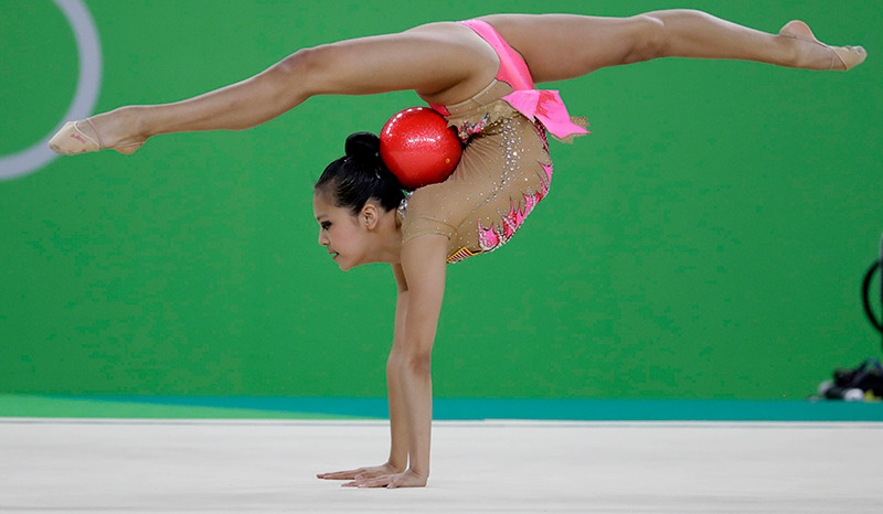 teenager in rhythmic gymnastics