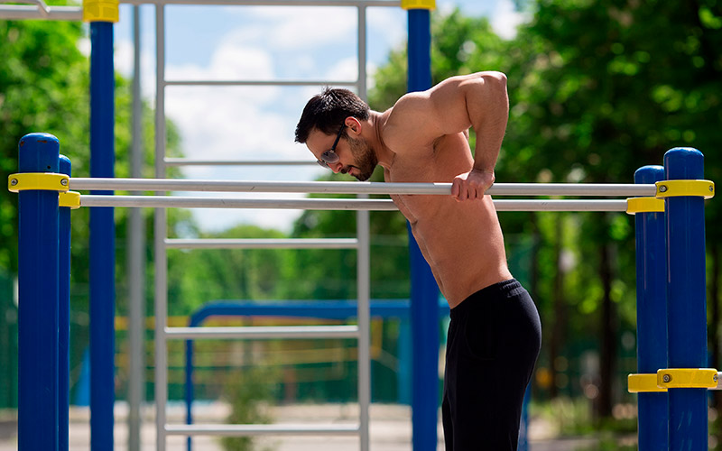 squeezing on the uneven bars