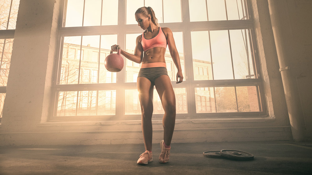 girl with kettlebell