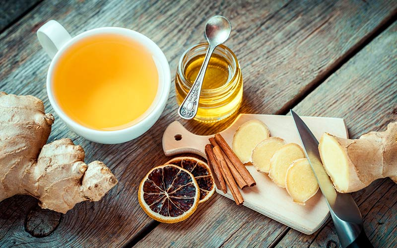 tea with ginger and additives